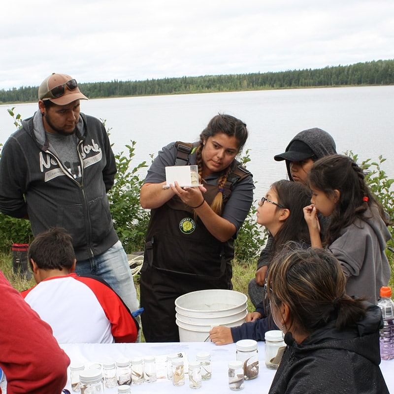 AOFRC team member identifying fish with students